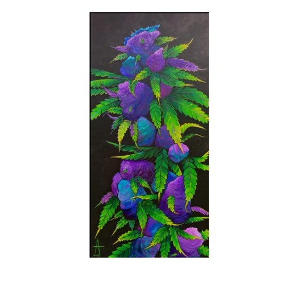 Purple Haze  original painting - Acrylic on Canvas   12x24x 1.5    inches by Alisa Grossutti