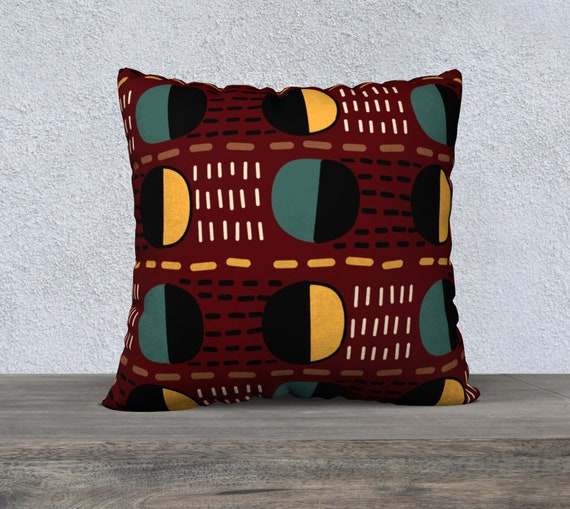 "22"" x 22"" Throw Pillow (Cover) Eccentric Geometric Pattern - Your Choice of Fabric : Cotton Canvas, Cotton Linen, Velveteen or Polyester"