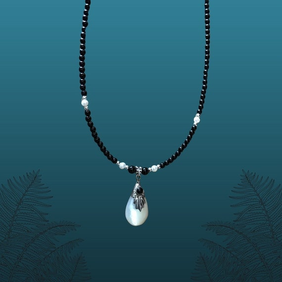 Sterling Silver and Simulated Opal Teardrop Pendant Necklace with Black Onyx & Freshwater Pearl Beads.