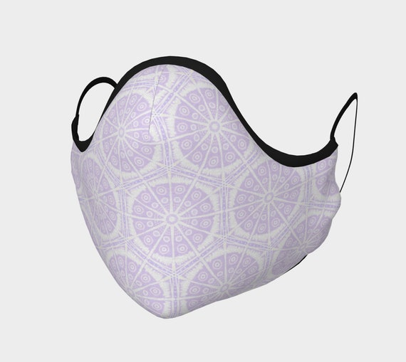 Lilac Batik Style Patterned Mask - 100% Cotton Sateen- High Thread Count - No Fog Moldable Nose Bridge - Adult & Youth