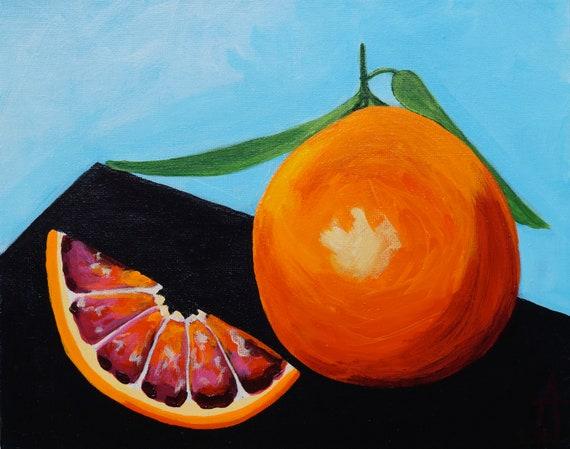 Blood Orange ll original painting ll by Alisa Grossutti