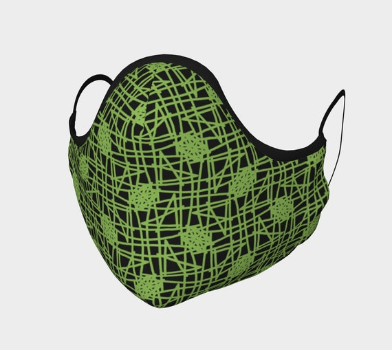 Black with Olive Green Mis Century Modern Mask - 100% Cotton Sateen- High Thread Count - No Fog Moldable Nose Bridge - Adult & Youth