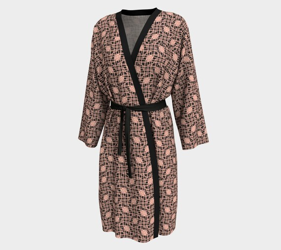 Dusty Pink & Black Squiggle Knot Peignoir- Cotton Sateen or Peach Skin Jersey House Robe