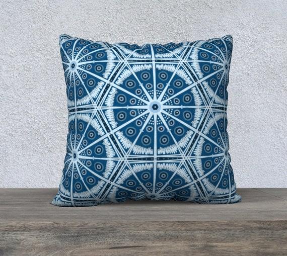 """22""""x 22"""" Dusk Blue- Boho Batik Throw Pillow - Your Choice of Fabric  > Velveteen, Cotton Canvas, Cotton Linen or Polyester"""