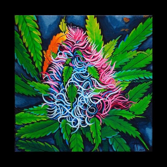 "Cotton candy- 10"" x 10"" x 1.5""- Acrylic on canvas by Alisa Grossutti -  original art"