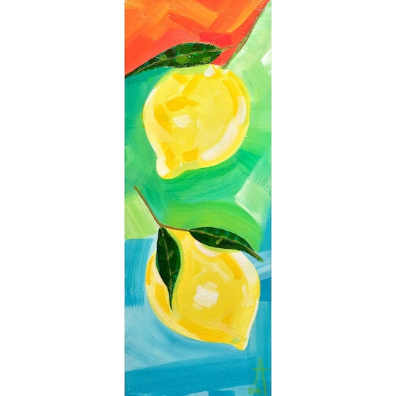 "Happy Together - Two Lemon's - 6"" x 16"" x 1.5"" - acrylic on canvas - Original art by Alisa Grossutti"