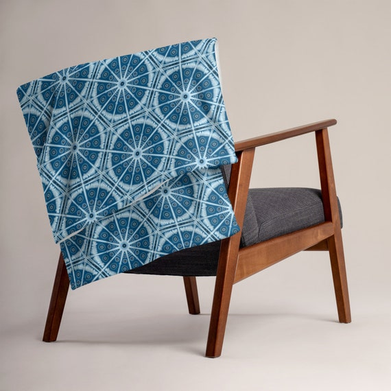 Dusk Blue Batik Boho Style Throw Blanket- Super Soft !
