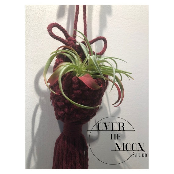 Cranberry Colored Macrame Air Plant Pocket - 100% Cotton Cord - Cute Bunny Ears