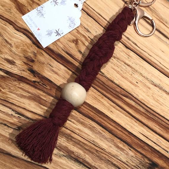 Macrame keychain in Burgundy Twist with light wood bead.