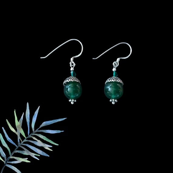 Green Jade & Sterling Silver Drop Earrings