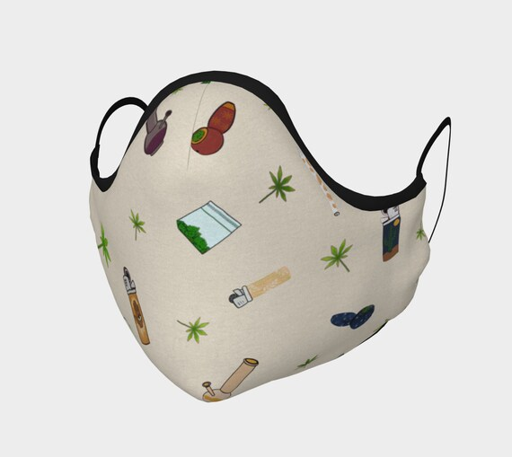 100% Cotton Sateen Face Mask - 420 Free Falling Design - High Thread Count-Washable- Moldable Nose Bridge- Filter Pocket - Carbon Filter