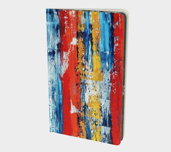 """Primary Abstract Style Journal/Sketchbook- 8.25""""x5"""" - Your Choice of Page Style-Blank-Ruled-Graph or Bullet- 70lb Acid Free Paper"""