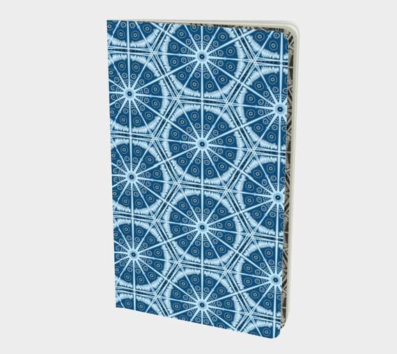 "Blue Digital Batik Pattered Notebook- Sketchbook- 8.25""x5"" - Your Choice of Page - Plain-Ruled-Graph or Bullet - 70lb acid free paper"