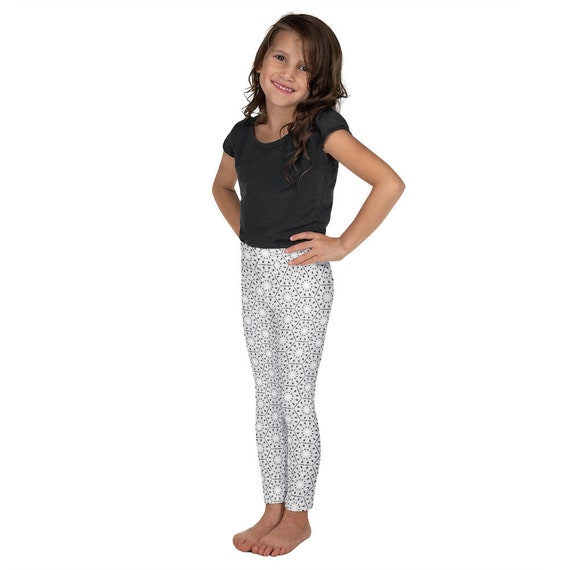 Black & White Eyelet Patterned Kid's Leggings  - Durable and Comfortable