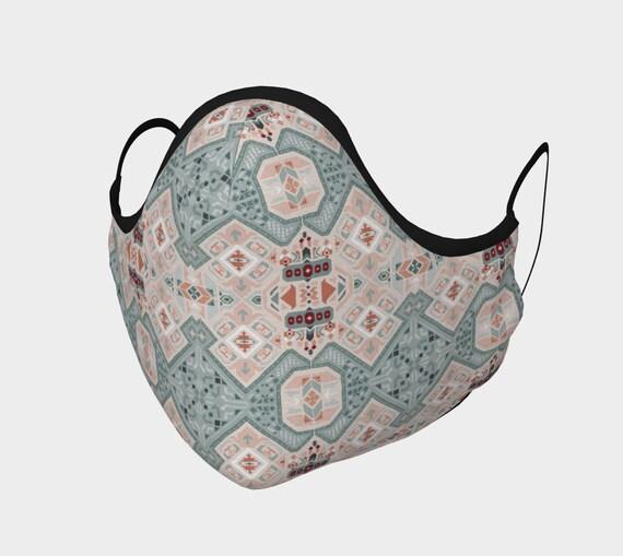 Geometric Boho Style Mask in Dusk Blue, White & Cranberry - Filter Pocket - 100% Cotton Sateen - Moldable Nose Bridge- Fog Free