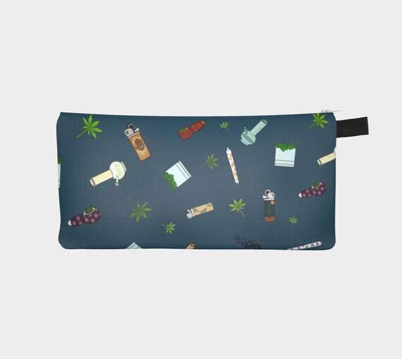 """4"""" x 9"""" Zipper Pouch - 420 Free Falling pattern in Blue- Twill & Canvas"""