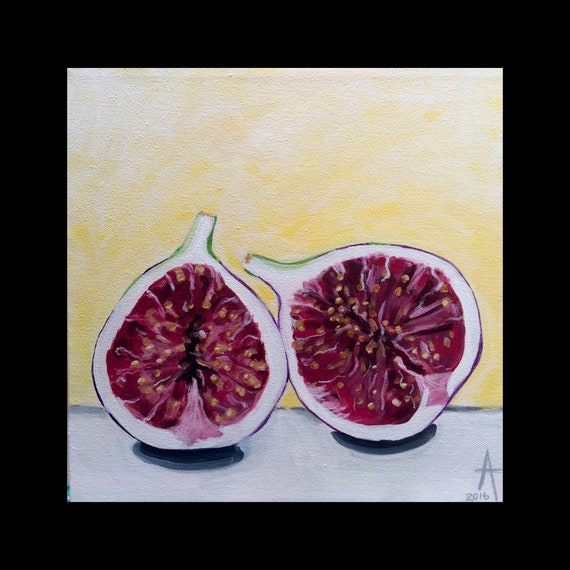 Lean on Me - Figs - original acrylic on canvas painting - Alisa Grossutti