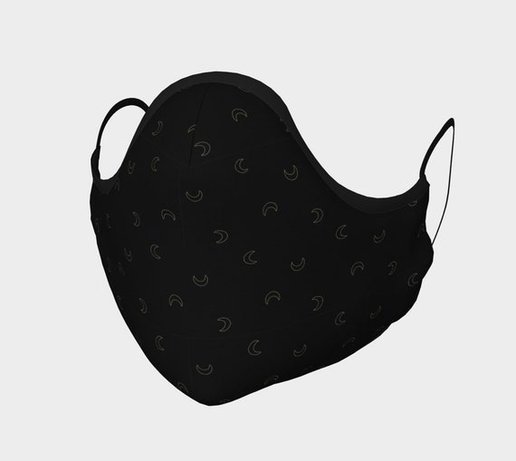 Black w/ Gold Crescent Moon Face Mask - Moldable Nose Piece & Filter Pocket - High thread count 100% Cotton Sateen. No Fog