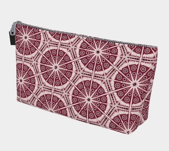 Cranberry Batik Style Cosmetic Bag