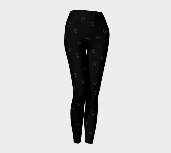 Black with Gold Crescent Moon Leggings