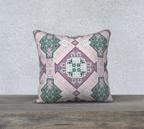 "18"" x 18"" - Purple & Teal Boho Geometric Patterned Pillow Case - Your choice of > Velveteen, Cotton Canvas, Cotton Linen"
