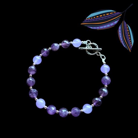 Amethyst & lavender jade bracelet with sterling silver