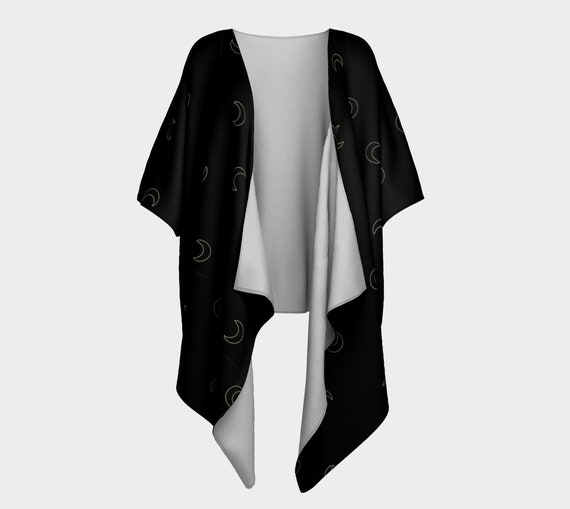 Black with Gold Crescent Moon Patterned -Kimono Style Cardigan/Shrug- Your Choice of Fabric