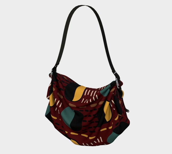 Women's  Large Slouch Bag/ Purse - Beautifully Printed in Eccentric Geometric Pattern - Vegan Leather Strap & Removable Fabric for Washing