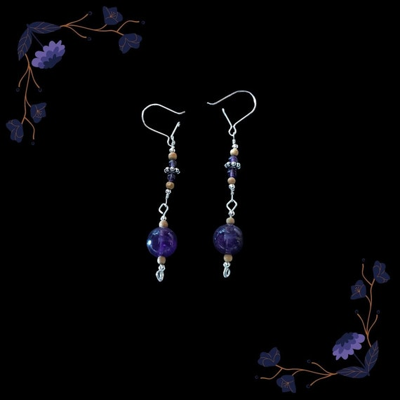 Amethyst & Sandalwood Earrings w/ Sterling Silver Hooks