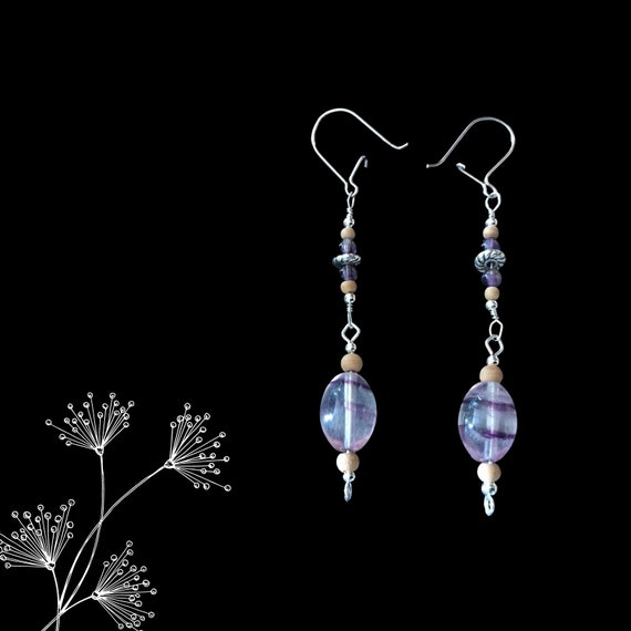 Fluorite, Amethyst & Sandalwood Earrings w/ Sterling Silver