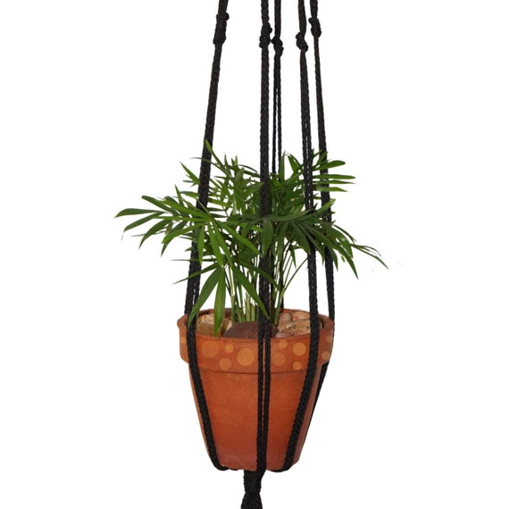 Black Indoor/Outdoor (Polyester)  Minimalist Macrame Plant Hanger w/ Finished Light Wooden Ring.