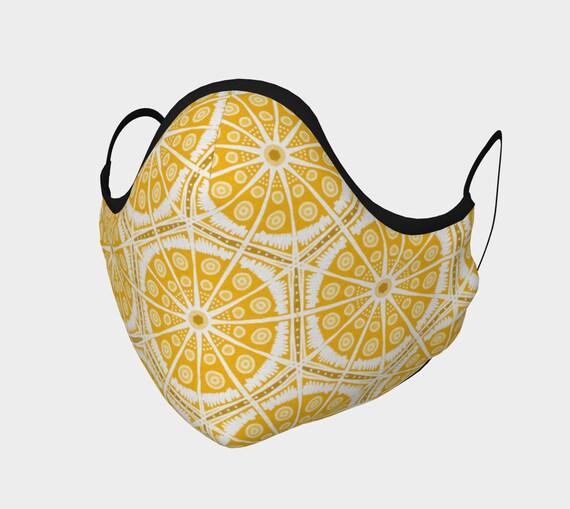 Amber Batik Patterned Face Mask-100% Cotton -Comfortable & Anti-Fog, Moldable Nose Bridge. Washable, pocket for filter.