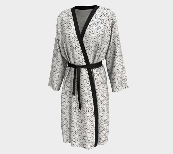 Black and White - Digital Eyelet  Patterned Peignoir - Silky Robe/ Dressing Gown