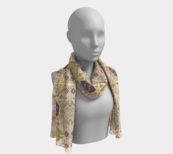 Purple & Mustard Silk Bohemian Patterned Scarf