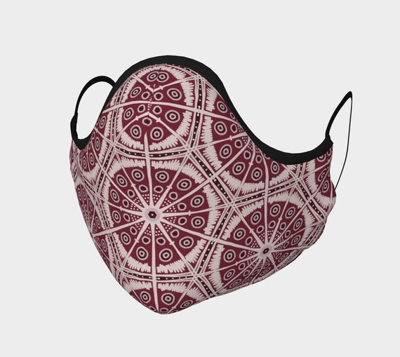 Cranberry Boho Batik Style Face Mask - 100% Cotton Sateen- High Thread Count - No Fog Moldable Nose Bridge - Adult & Youth