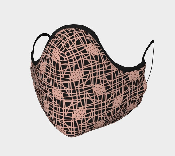 Dusty Pink and Black Mid Century Modern Mask - 100% Cotton Sateen- High Thread Count - No Fog Moldable Nose Bridge - Adult & Youth