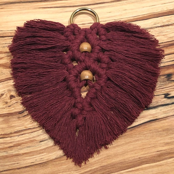 Macrame Leaf in Burgundy w/ Caramel Coloured Wooden Beads & Gold Hanging Ring