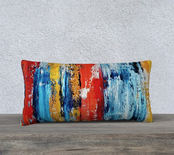 "Primary Abstract 24""x12"" Pillow"