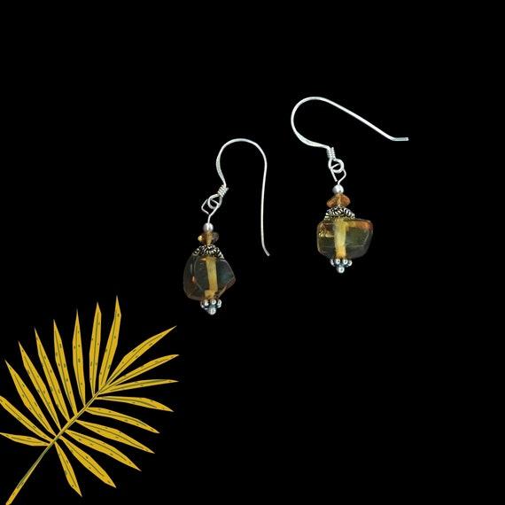 Beautiful and Simple, Amber Drop Earrings w/ Sterling Silver Hooks.