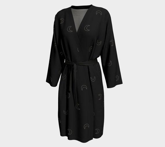 Black & Gold Crescent Moon Peignoir - Silky Bath Robe/ Dressing Gown- Peach Skin Jersey or Poly Chiffon