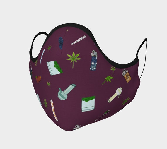 Face Mask- 420 Free Falling in Purple - 100% Cotton Sateen- Anti-Fog- Moldable Nose Bridge - Washable- Filter Pocket - Carbon Filters