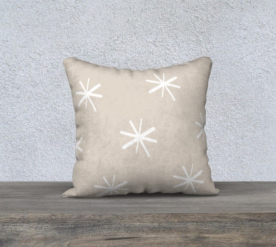 "18""x 18"" Neutral Asterisks Pillow Cover - You Choose the fabric- Velveteen - Cotton Linen- Cotton Canvas- Polyester- Made in Canada"