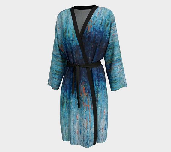 Beautiful Gradient Blue Women's Kimono Style Robe - in Peach Skin Jersey or Chiffon