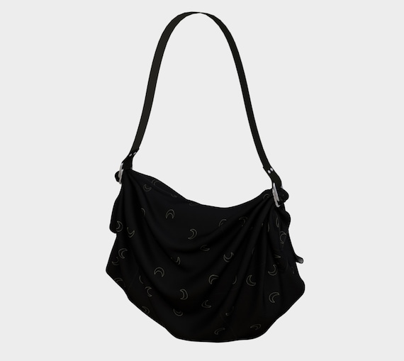 Black w/ Gold Crescent Moon Patterned Crepe Purse-Tote- Washable and Multi-Purpose!