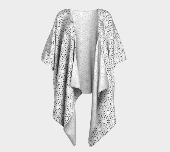 Black & White Cover Up- Silky Loose Fitting Kimono Style Cardigan with Digital Eyelet Pattern.