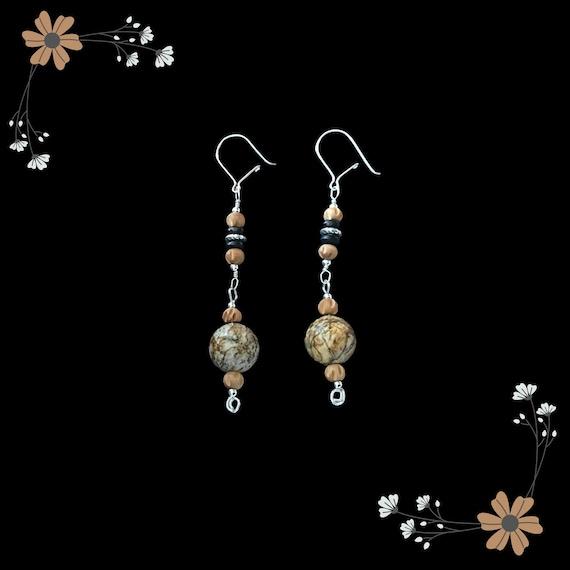 Sandalwood & Sandstone Drop Earrings w/ Sterling Silver Hooks