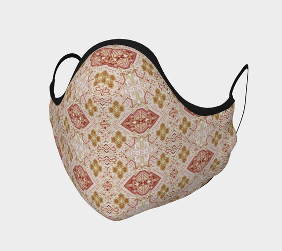 Boho Geometric Patterned Cotton Sateen Face Mask w/ High Thread Count. Filter Pocket & Moldable Nose Bridge