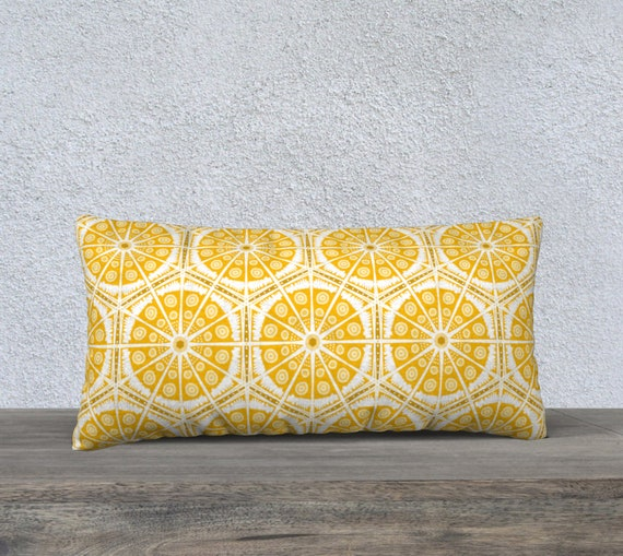 Boho Style Throw Pillow (Cover) Amber Yellow - Batik Pattern - Your Choice of Fabric- Velveteen, Cotton Canvas, Cotton Linen or Polyester