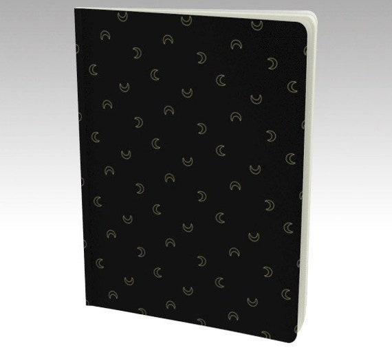 Black & Gold Moon Notebook/ Journal/ Sketchbook - 48 Pages - 40 Lb Acid Free Paper - Choose your page style! Blank - Lined - Graph - Dotted