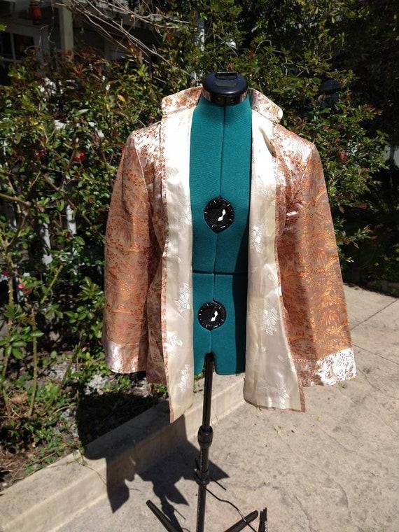 Vintage Chinese toile brocade silk coat - image 2